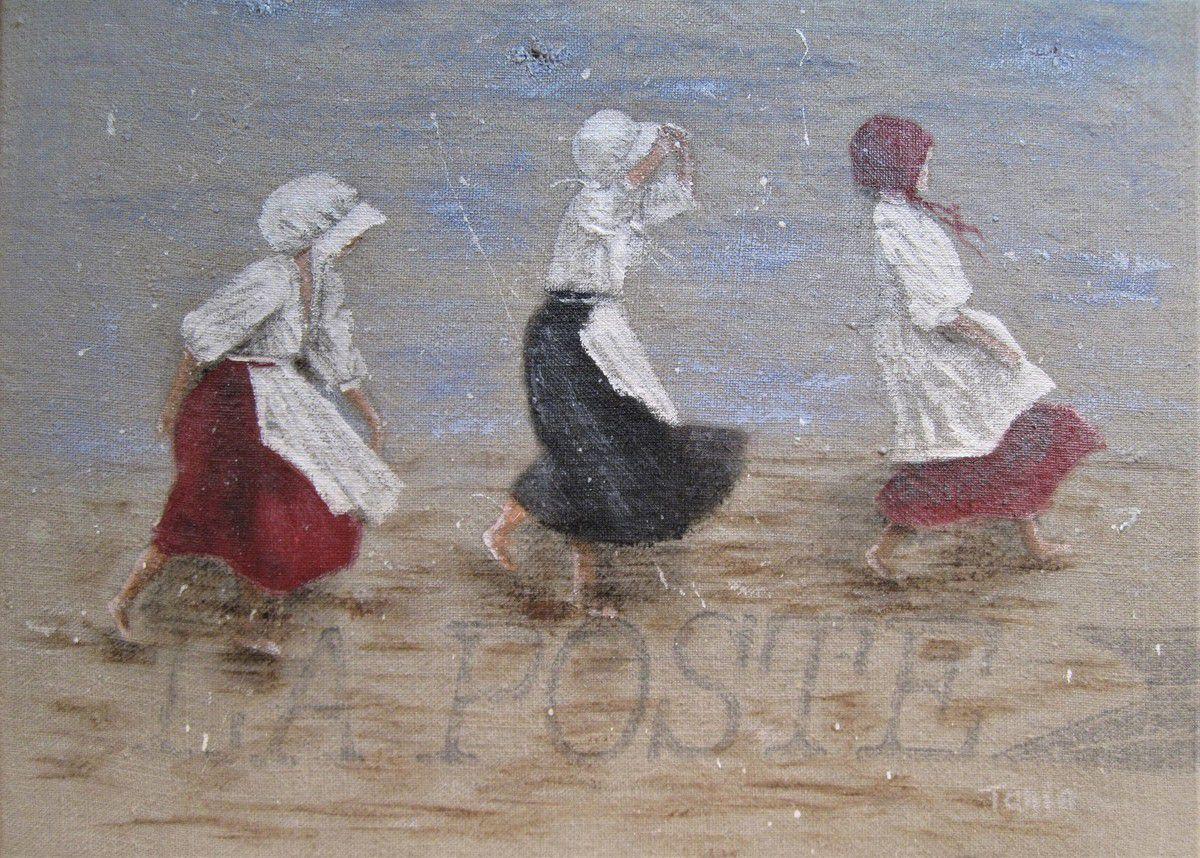 """46 x 32 cm   """"Trois filles en cavale"""""""