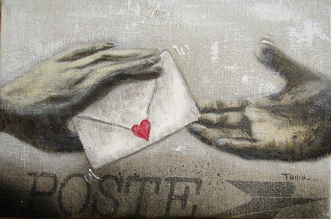 Acrylique sur toile de sac postal  27 x 41 cm