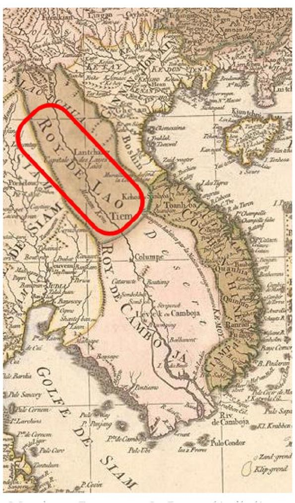 Mention «Royaume de Lao», détail d'une carte du milieu du XVIIIème siècle. On notera avec intérêt qu'au regard de Lan-tchang, le cartographe a rajouté la mention «Capitale des Layes ou Laos» (comme sur la carte précédente