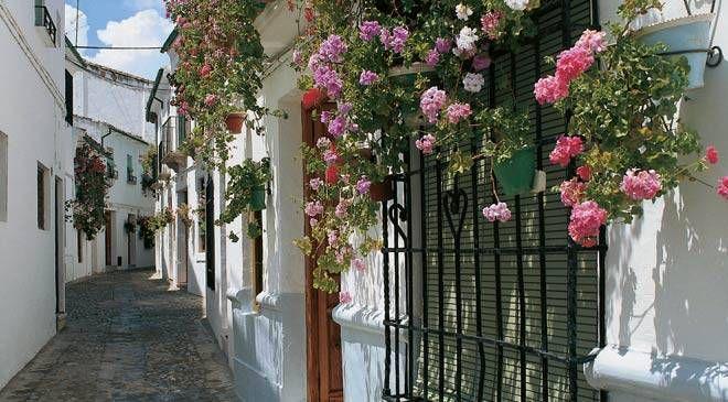La mosquée-cathédrale de Cordoue et une rue fleurie de la ville.