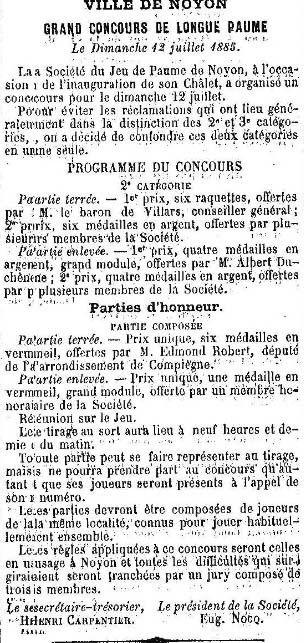 Album - la ville de Noyon (Oise), la pédale Noyonnaise et la société de longue Paume