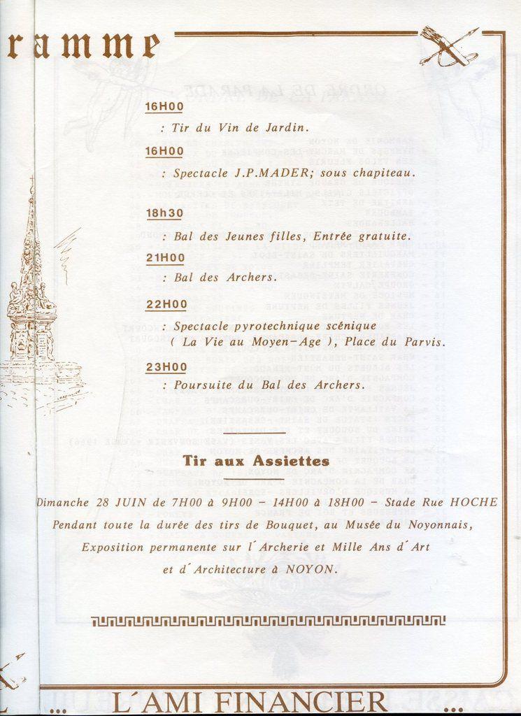 Album - la ville de Noyon ( Oise ), le bouquet provincial, 28 juin 1987, la présentation et programme