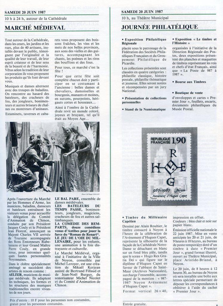 Album - la ville de Noyon ( Oise ), 20 et 28 juin 1987, 9 jours de fêtes pour 1000 ans d'Histoire