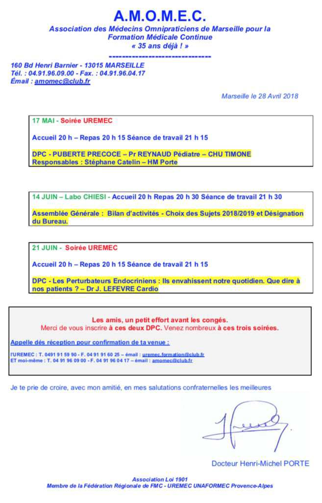Nos Prochaines Formations - Mai / Juin 2018