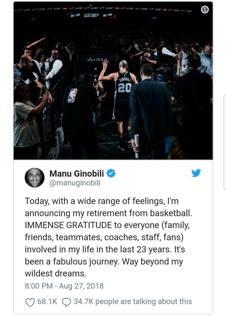 Manu Dinobili met un terme à sa carrière !