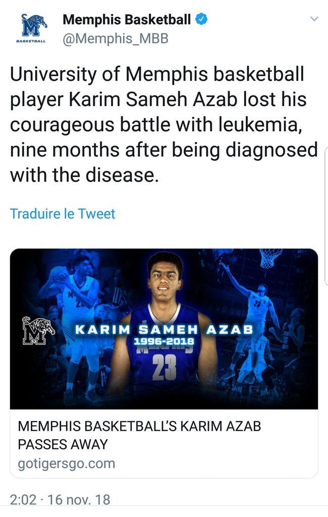 NCAA : l'égyptien Karim Sameh Azab décédé d'une leucémie