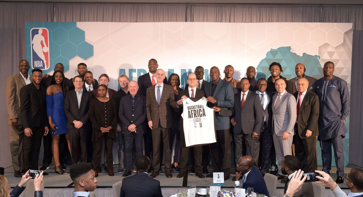 FIBA Secretary General Andreas Zagklis and NBA Commissioner Adam Silver are joined by FIBA Africa President Hamane Niang; FIBA Africa Executive Director Alphonse Bilé; Charlotte Hornets Chairman Michael Jordan; Maple Leaf Sports & Entertainment Chairman Larry Tanenbaum; NBPA Executive Director Michele Roberts; NBA Deputy Commissioner Mark Tatum; NBA Vice President and Managing Director for Africa, Amadou Gallo Fall; and members of the NBA family following the announcement of the Basketball Africa League (Credit: NBAE/Getty Images)