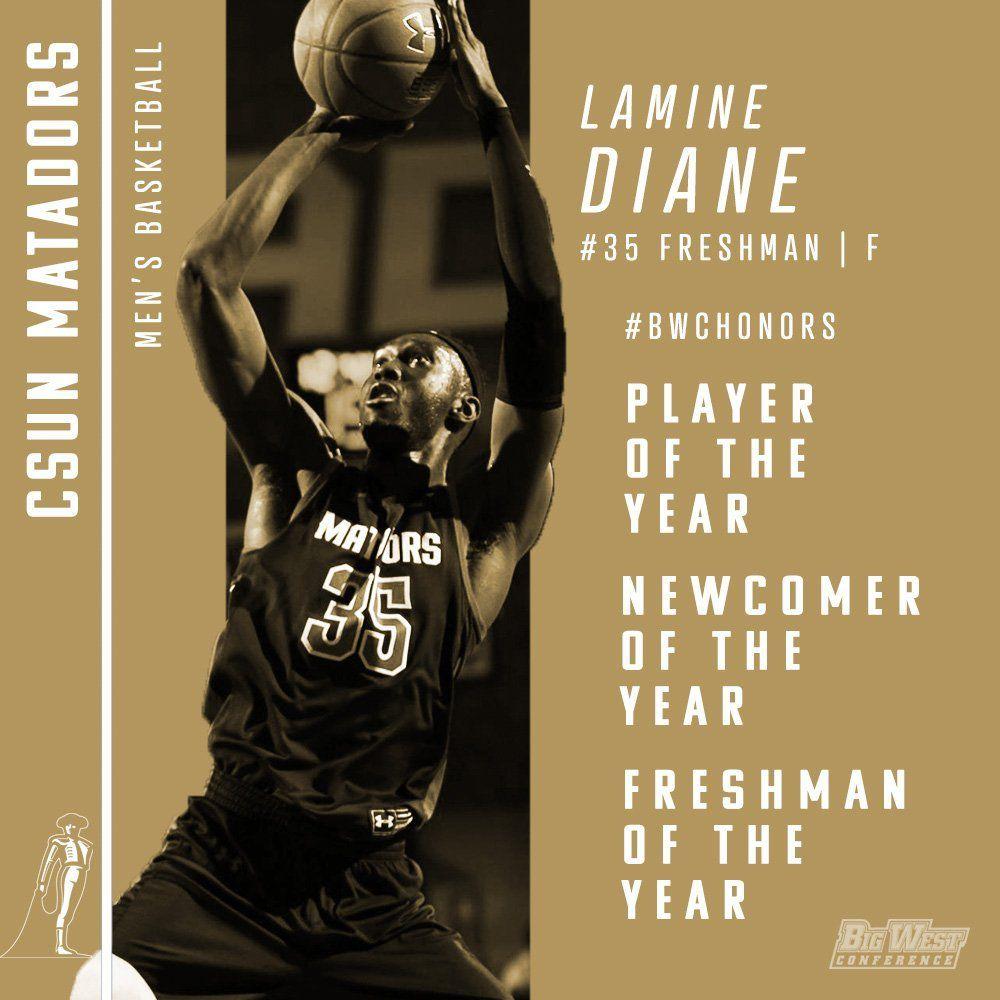 NCAA : Lamine Diane s'offre trois distinctions individuelles du Big West !