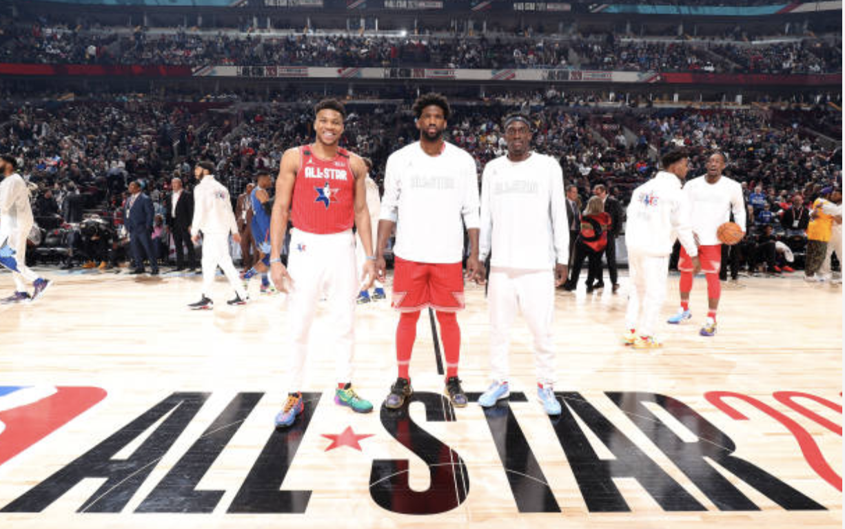Giannis Antetokounmpo, Joel Embiid et Pascal Siakam lors du NBA All-Star Game 2020 à Chicago