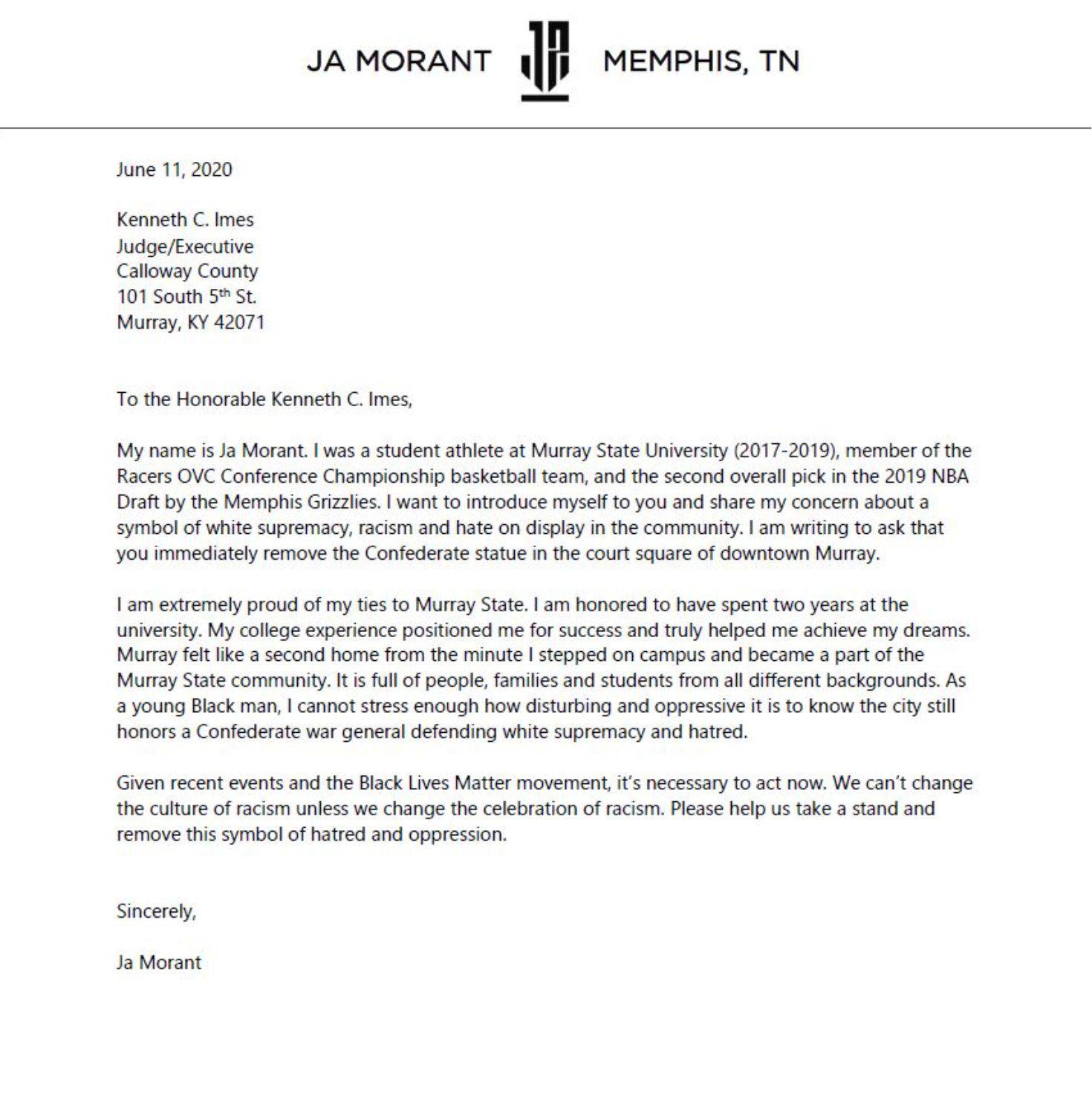 Ja Morant veut que l'on retire la statue du général Robert E. Lee