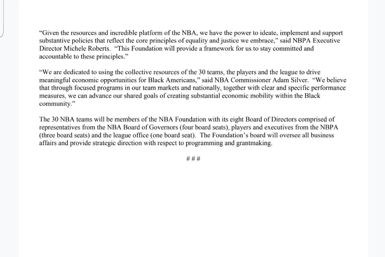 Le Conseil d'administration de la NBA crée la toute première fondation NBA en partenariat avec la NBPA en faveur des communautés Afro-américaines