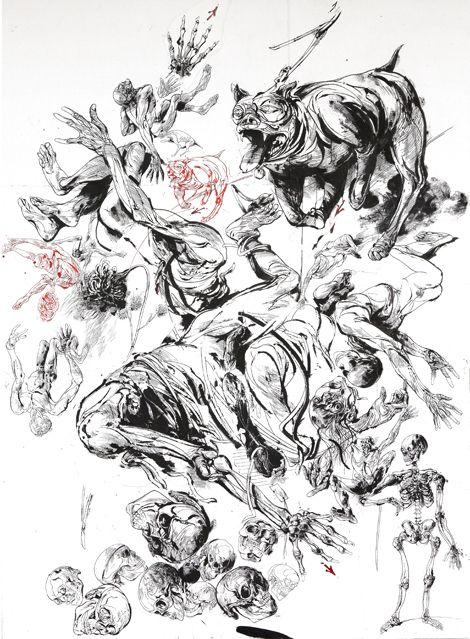 Pitbull, 2011, Encre de chine et encre rouge sur papier