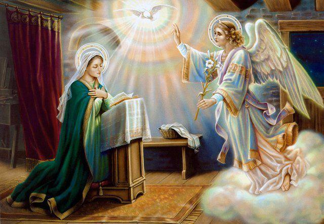 25 mars : L'Annonciation : annonce de sa maternité divine faite à la Vierge Marie par l'archange Gabriel
