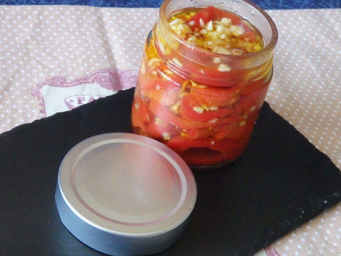 Poivrons confits ail et huile d'olive