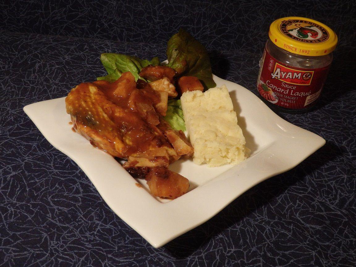 Suprême de pintade, coing et sauce canard laqué