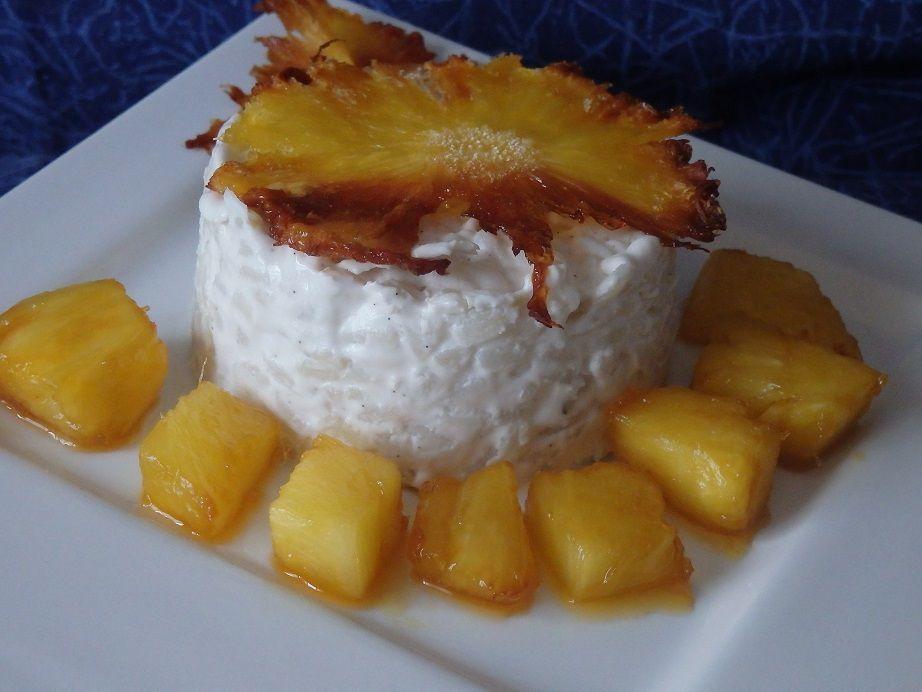 Riz au lait de coco, ananas caramélisé