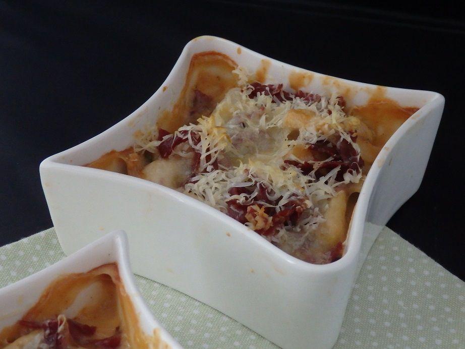 Emincés de poulet à la concoillotte et pancetta, gratinés