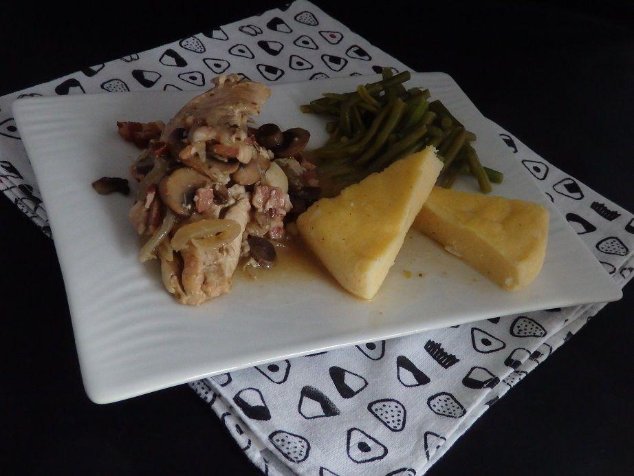 Cuisse de volaille au cidre champignons et polenta au parmesan