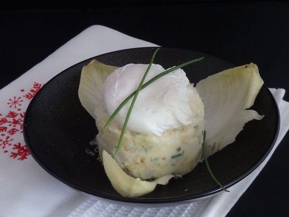 Brandade au parmesan et œuf poché