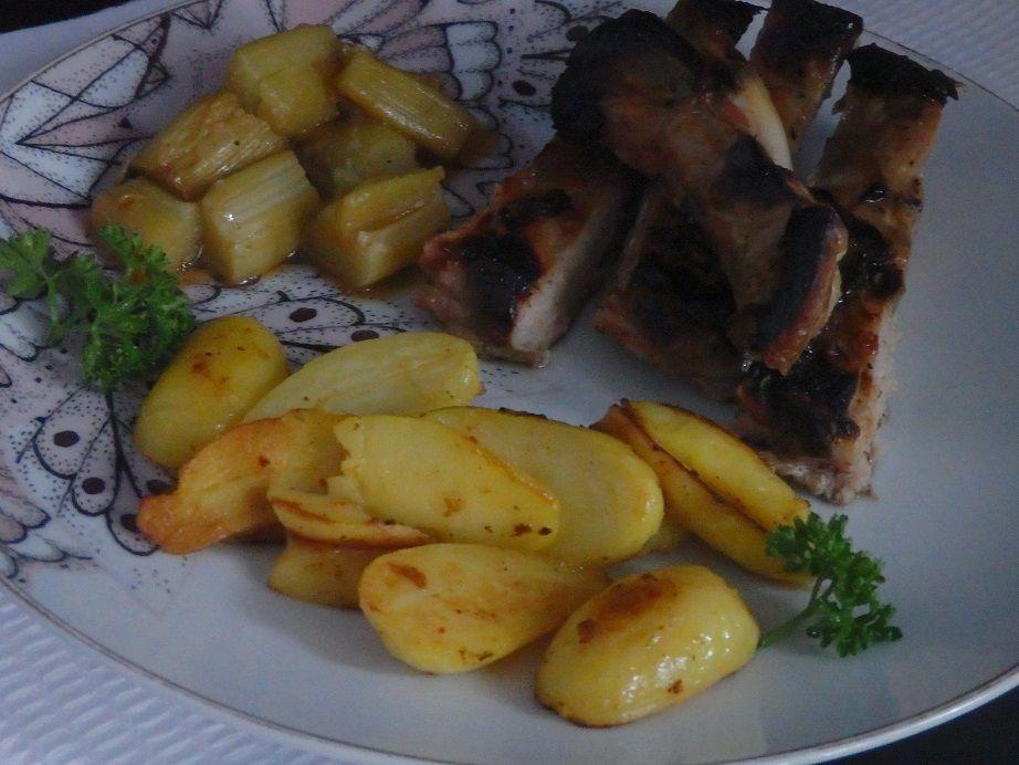 Travers de porc à la rhubarbe