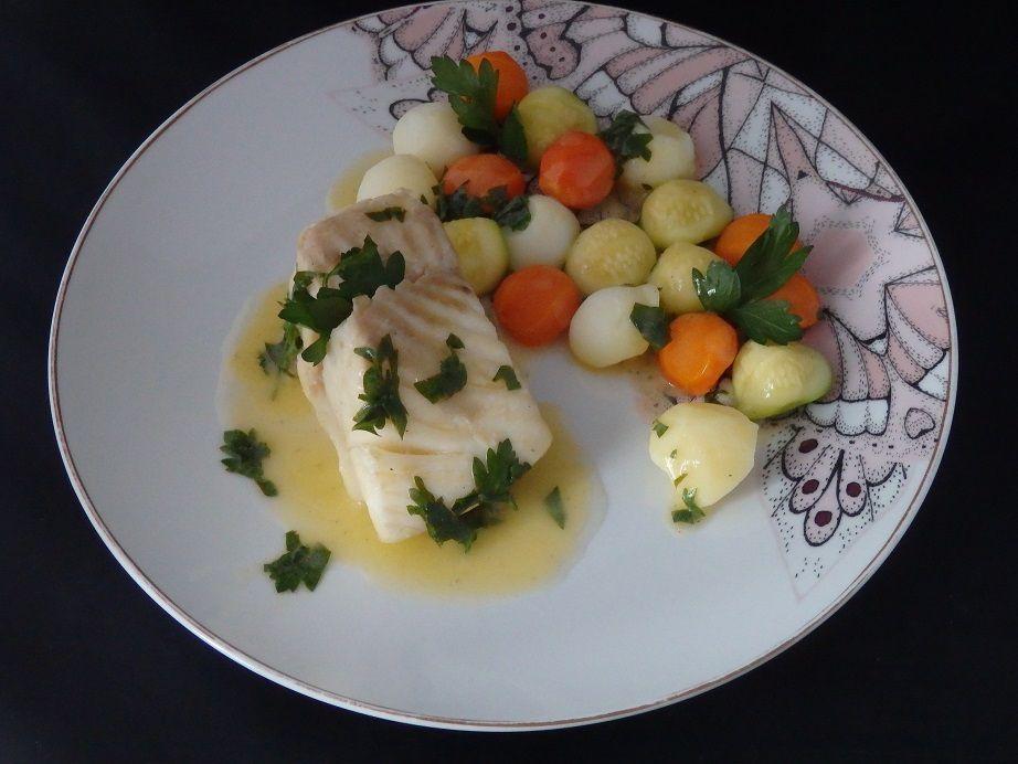 Pavés de turbot et ses billes de légumes au beurre citronné