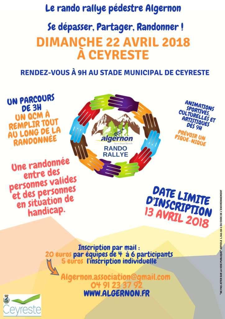 Événement Sportif Algernon : LE RANDO RALLYE 2018