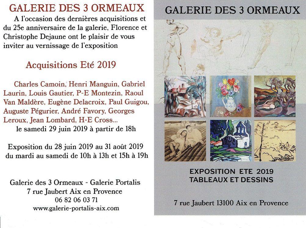 """Exposition d'été à la """"Galerie des 3 ormeaux"""" à Aix"""