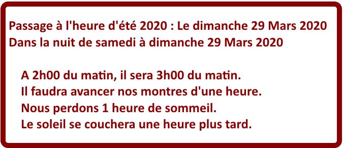 Changement d'heure Dimanche 29 Mars