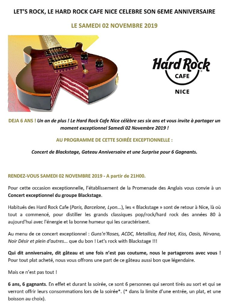 6 ans Hard Rock Café Nice