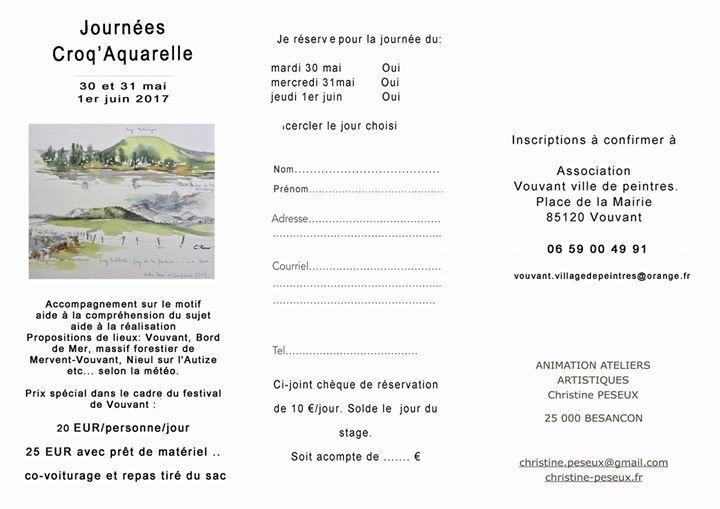 Inscrivez-vous vite à Croq'Aquarelle pour le 30-31 mai et 1er Juin 2017