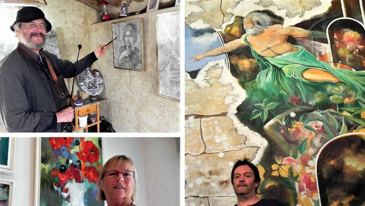 François Plumart, portraitiste de talent membres actif de VVP. L'artiste Penny Peckmann a assuré la présidence de VVP pendant trois ans. Exposant de l'an passé, Jean-Michel Rackelboom a peint l'oeuvre la plus grande exposée dans la Nef Théodelin, une toile de 12 m sur 7,60 m. |