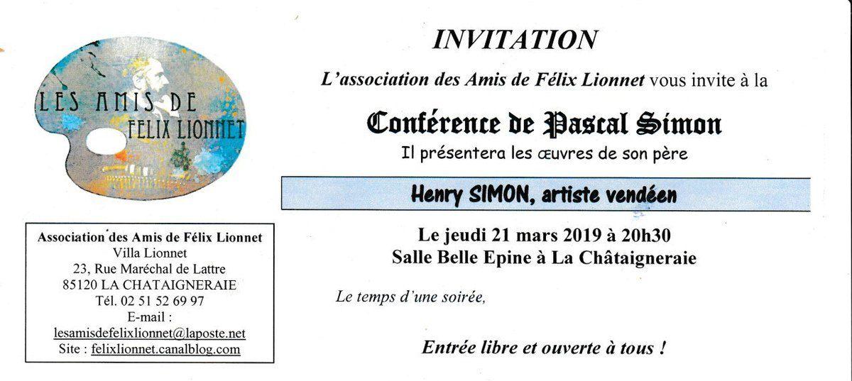 Conférence  sur Henry SIMON, peintre vendéen, le 21 Mars 2019, La Chataigneraie.