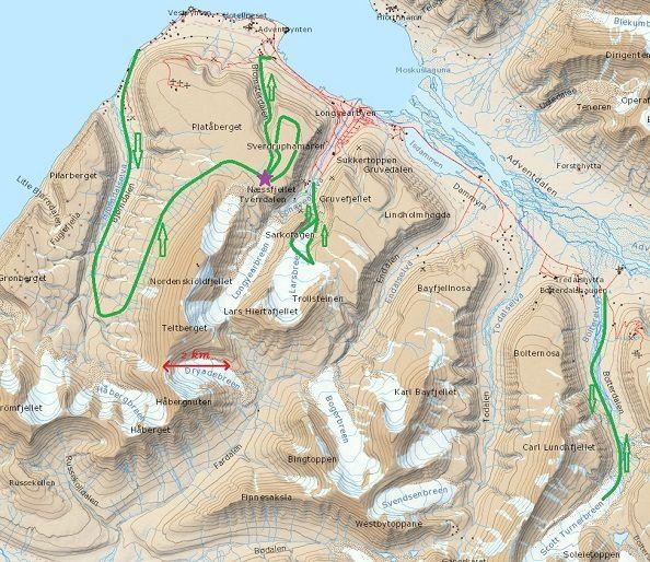 Emplacement du point d'observation sur le plateau de Plataberget à 35km de la ligne de centralité. Tracé – en vert – du parcours d'exploration.