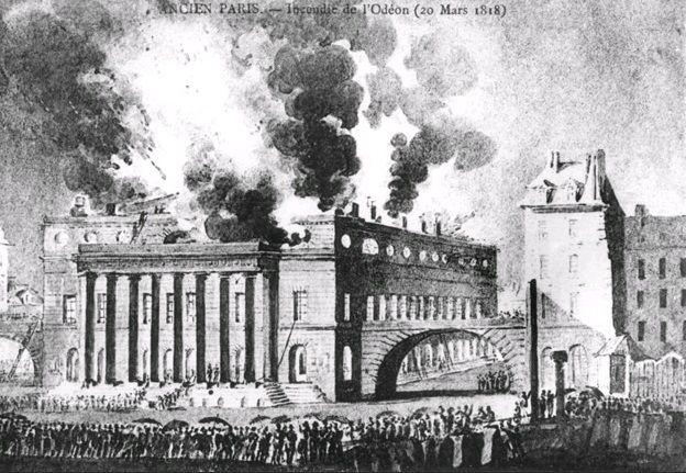 Incendie du Théâtre de l'Odéon en 1818.