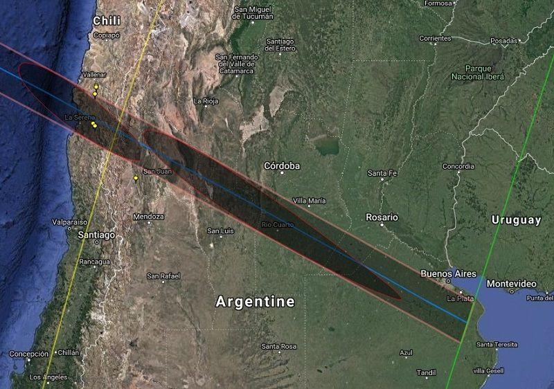 Tracé de l'éclipse totale de Soleil du 02 juillet 2019 au Chili et en Argentine - (c) Xavier Jubier - xjubier.free.fr