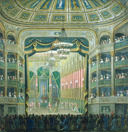 Vue de la scène de l'Opéra de Paris, Rue Richelieu, Paris - Ecole française