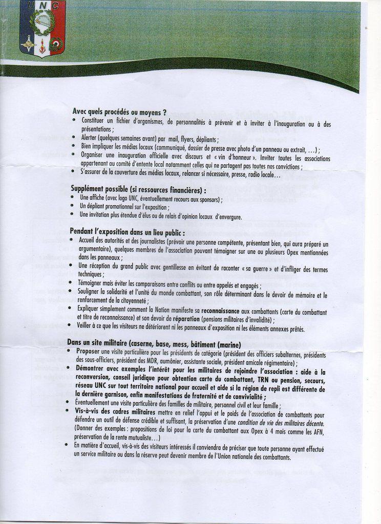 Livret de présentation de l'exposition OPEX de l'UNC