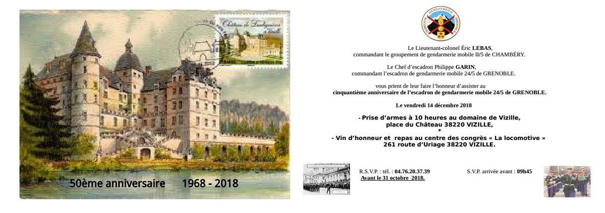 Cinquantième anniversaire de l'Escadron de Gendarmerie mobile 24/5 de Grenoble