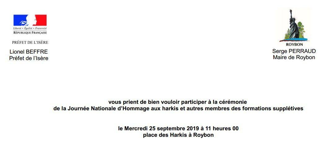Invitations pour la Journée Nationale d'Hommage aux Harkis, mercredi 25 septembre 2019 à 11h à Roybon et à 17h à Grenoble