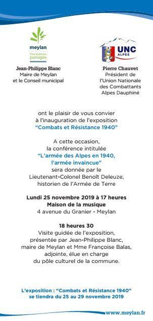 """Meylan, exposition et conférence """"Combats et résistance 1940"""" à la Maison de la Musique"""