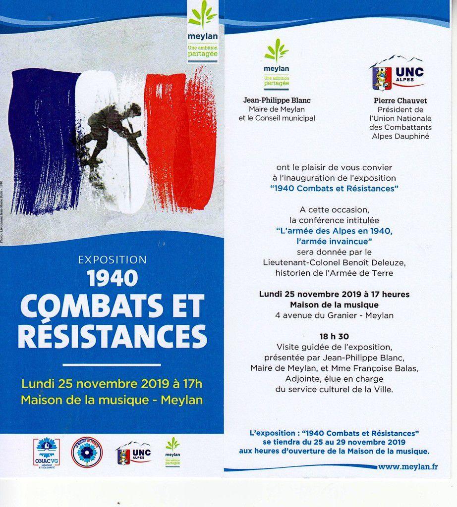 Expo / conférence à Meylan: 1940 combats et Résistance