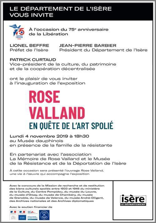 """Invitation """"Rose Valland"""" au musée Dauphinois le 4 novembre à 18h30"""