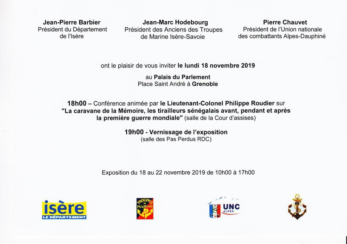 Rappel: Exposition / conférence à Grenoble: tirailleurs sénégalais avant, pendant et après la première guerre mondiale