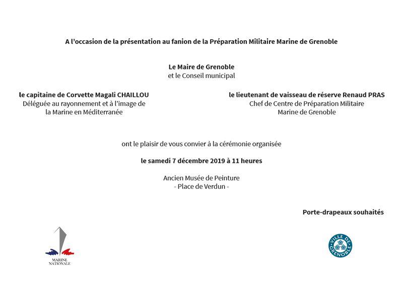 Rappel: 7 décembre / 11h00 Présentation au fanion PM Marine de Grenoble