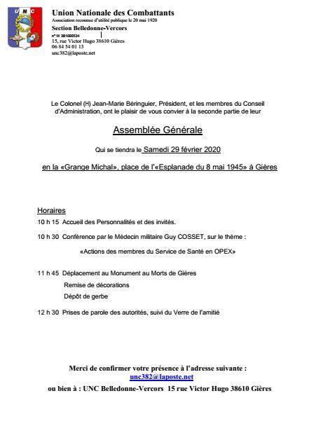 Invitation à l'AG de l'UNC Belledonne Vercors (seconde partie)