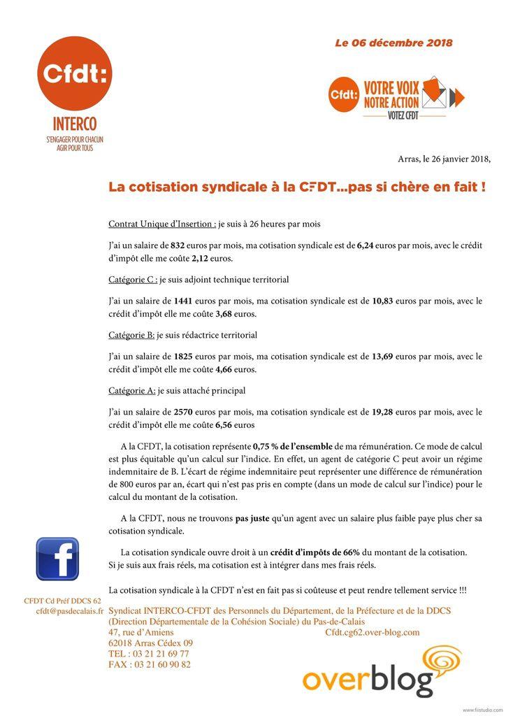 La cotisation syndicale à la CFDT...pas si chère en fait!
