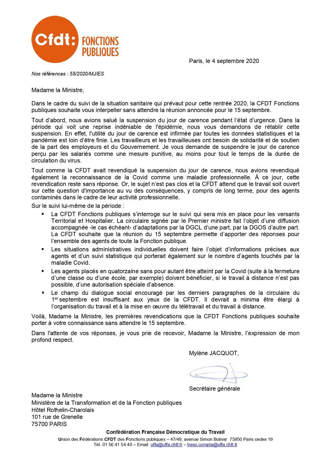 La CFDT demande la reconnaissance de la Covid comme maladie professionnelle, la suspension du jour de carence ainsi que le rétablissement des Autorisation Spéciales d'Abscence