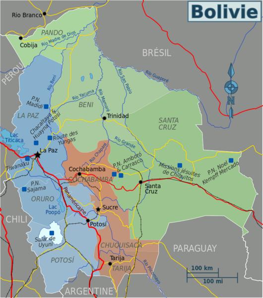la Bolivie et notre circuit (nous irons à Uyuni en avion et non  en voiture comme prévu au départ)
