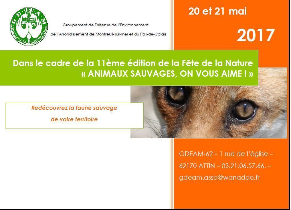 """""""ANIMAUX SAUVAGES, ON VOUS AIME"""" !...par le GDEAM...les 20 ET 21 MAI..."""
