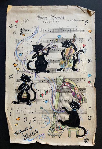 THE QUARTET OF BLACK CATS      ACRYLIQUE SUR ANCIENNE PARTITION